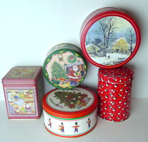 Cookie Candy Christmas Tins Boxes Round Square 1990s Vintage Lot of 5