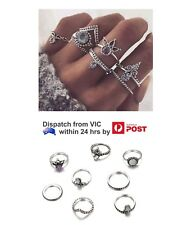 8pcs Silver Fashion Boho Ring Stack Above Knuckle Mid Finger Rings Set