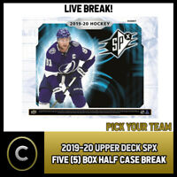 2019-20 UPPER DECK SPX HOCKEY 5 BOX (HALF CASE) BREAK #H662 - PICK YOUR TEAM