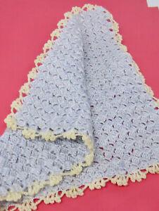 Dollhouse Miniature 1:12  Crocheted Pale Blue Blanket OOAK