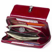 Women's Genuine Leather Long Wallet Money Card Holder Clutch Purse RFID Blocking