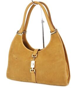 Auth GUCCI Jackie O Brown Suede and Leather Tote Shoulder Bag Purse #38651