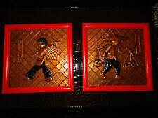 "Fabulous Art Noveau Copper Art Relief Plaques/Pictures Girl and Boy 6"" x 6"""