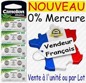 Piles bouton 0% Mercure - Type AG0 LR63 LR521 379 LR41 LR44 LR43 LR54 LR66 1,5V