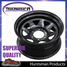 16X7 6 Stud Black Steel Thunder Wheel Rim -13 Offset 6/139.7 suits Toyota patrol