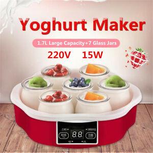 1.7L Yoghurt Maker w/Timer & 7 Glass Jars Automatic Smart Touch Screen  New