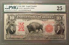 1901 $10 Legal Tender Note, PMG graded VF25 net, Fr#122, Popular 'Buffalo' Note