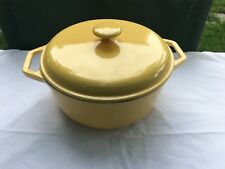Yellow Color Cast cast iron covered pot with handles excellent condition