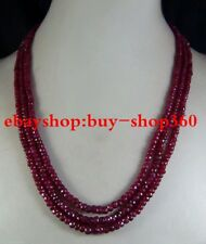 "2x4mm NATURAL RUBY FACETED BEADS NECKLACE 3 STRAND 17""-19"""