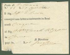 MARCHE. Ricevuta della posta di Fabriano (Ancona) del 27.6.1858. Ottima qualità.