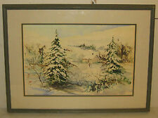 VINTAGE SKIING COUNTRY SKI HOUSE WINTER LANDSCAPE PAINTING - SIGNED ILLEGIBLY