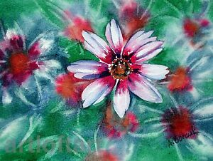Coreopsis  FLOWER  ACEO Card  Print by A Borcuk  2.5x3.5