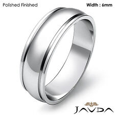 Wedding Band 6mm Women Solid Dome Step Plain Ring Platinum 950 8gm Size 7 - 7.75