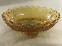 Vintage Amber Glass Small Oval Footed Dish Bowl Scalloped Edge B13