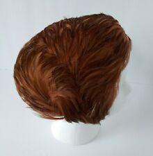 Vintage Europa Feather Capulet Hat Cap Medium Rust Brown Made in Belgium