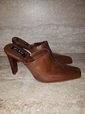 Diba 'Amanda' Brown Leather Slip On/Slide In Shoes Women's Size 8 M