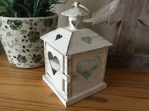 Ivory Metal Lantern With cut Out Heart Detail Wedding Home Gift