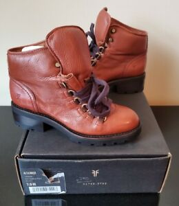 New in Box Frye Womens Alta Hiker Leather Boots Rust 7.5 M