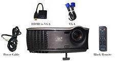 Dell 1800MP DLP Projector HD 2100 ANSI Portable 1080i HDMI-Adapter w/Remote