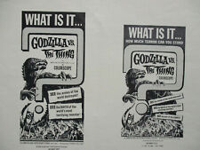 1964 Horror Sci-Fi Movie 'Godzilla vs The Thing' Ads Pressbook Science Fiction