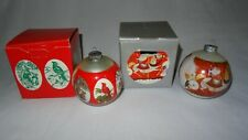 Corning Glass Christmas Ornaments Lot of 2 w/ Boxes Wildlife Carousel Designs