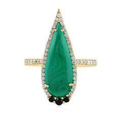 Pave Diamond 0.12ct Black Spinel Yellow Gold Malachite Gemstone Ring Size 7