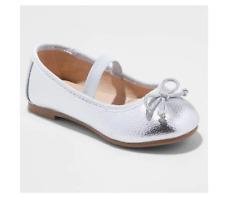 Toddler Girls' Becca Ballet Flats - Cat & Jack Silver Toddler Girls Size 10 New