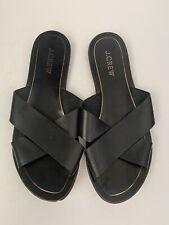 J. CREW Black Leather Flat Criss Cross Band Slide Sandals Sz 8