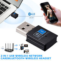 2 In 1 Mini Wireless USB Adapter 150Mbps WiFi Bluetooth4.0 Receiver For Computer