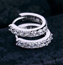 Korean Womens White Gemstones Crystal Wedding Jewelry Silver Hoop Earrings Gift