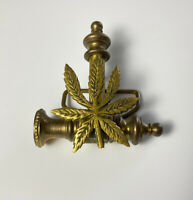 Vintage Weed Marijuana Leaf Brass Belt Buckle