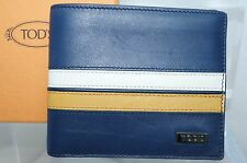 Tod's Men's Blue Wallet Credit Card Case Bi-Fold CC Holder Leather NWT