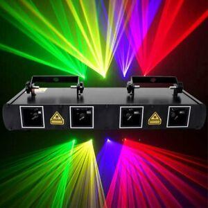 4 Lens 4 Beam Laser Stage Lighting RGPY DMX 460mW DJ Bar Party Club Show Light