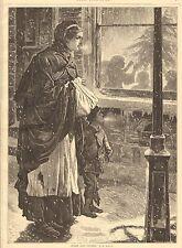 Children, Christmas, Inside And Outside. by J.R. Ashton, 1876 Antique Art Print