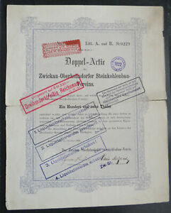 Zwickau-Obernhohndorfer Steinkohlenbau-Verein Doppel-Actie 110 Thaler 1861 !