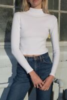 brandy melville white crop ribbed Daniela turtleneck top NWT sz S