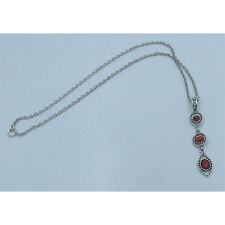 .925 Sterling Silver Natural Red Orange Bamboo Coral Chain Necklace