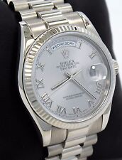 Rolex President Day-Date 118239 18K White Gold Silver Roman Dial *Mint Condition