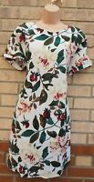 WHITE GREEN GREEN PURPLE FLORAL SHORT SLEEVE SHIFT TUNIC SLIP DRESS 16 18 XL