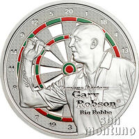 """GARY ROBSON """"Big Robbo"""" - Famous Darters Coin Series - 2014 Cook Islands $1"""