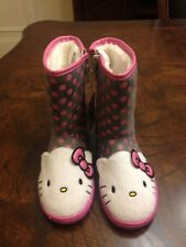 New w/Tag Hello Kitty Boots White Boots Gray Pink Polka Dots Toddler/Girls Sz 12