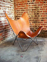 RUSTIC VINTAGE HANDMADE BROWN BUFFALO LEATHER RELAX ARM CHAIR BUTTERFLY CHAIR