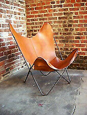 Retro Rustic Vintage Leather Butterfly Chair Relax Arm Chair With Folding Stand