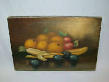 Antique Vtg 19th C 1870's Still Life Signed E. French Oil on Canvas 12 X 18 Nice