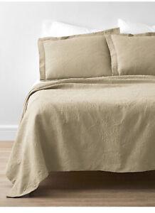 The Company Store Putnam Wheat 100% Cotton Matelasse King Coverlet & Sham