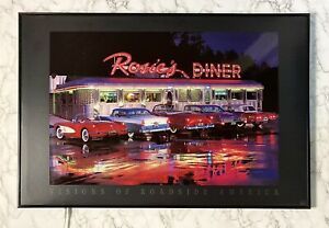 Vintage LED Light Up Picture Wall Art Rosie's Dinner & Classic Cars WORKS