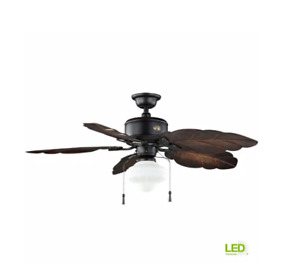 Hampton Bay Nassau 52 in. LED Indoor/Outdoor Gilded Iron Ceiling Fan with Light