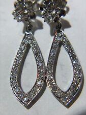 14K White Gold Tear Drop Flower Top Earrings with Diamonds