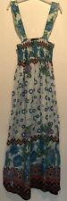 ONE SIZE OR 12/14 BLUE/CREAM FLORAL MAXI DRESS PARTY/TOWIE/FESTIVAL/CLUBBING NEW