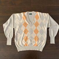 Hugo Boss Golf Mens Long Sleeve V Neck Pullover argyle pattern Sweater Size L